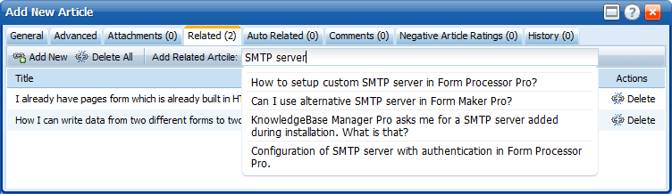 Auto Completer for related articles in KnowledgeBase Manager Pro