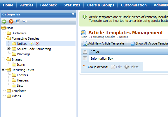 Article templates organization