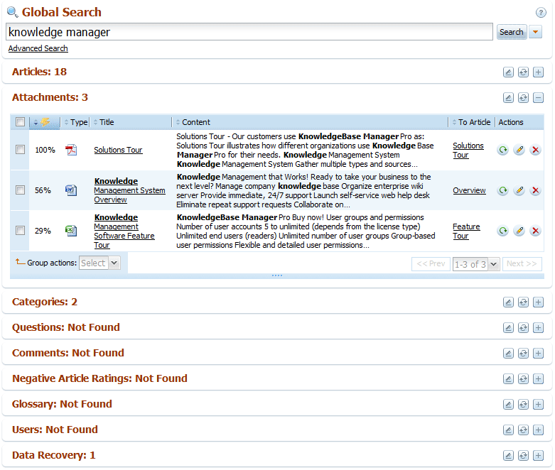 Back-end search results with folded data grids in knowledge base software
