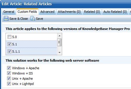 We edit custom fields in Knowledge Base Software