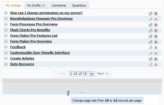 Drag bottom border to change size of data grid
