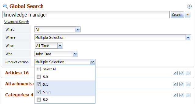 Search by custom field in back-end search of knowledge base