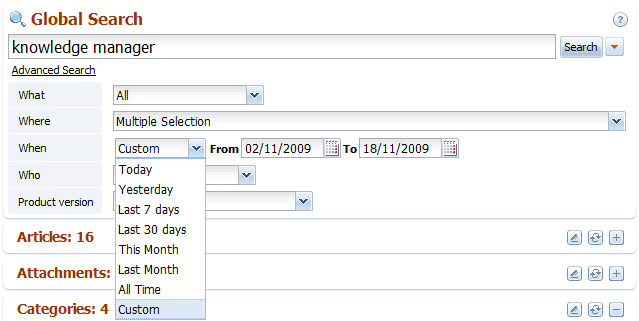 The When option in back-end search of knowledge base software