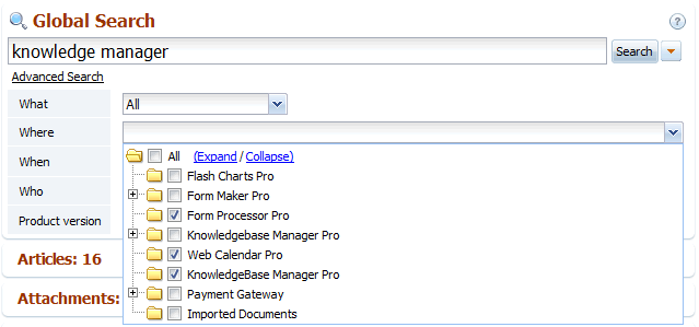 The Where option in back-end search of knowledge base software