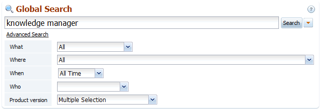 Back-end search options in knowledge base software