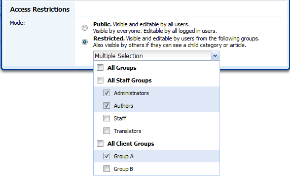 Article and category access restrictions in Knowledge Base Software