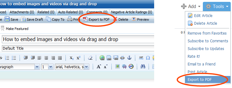 Export of articles to PDF is now supported.