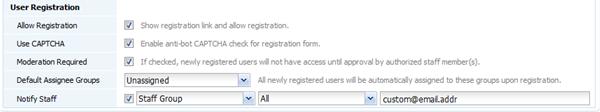 User registration Settings