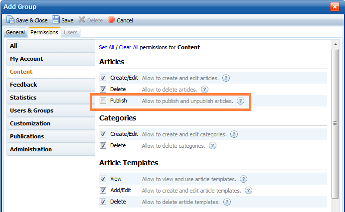 Permissions that allows publishing articles in knowledge base software