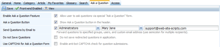 Option for sending questions to a custom email address