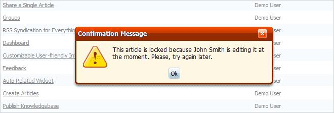 Locked article notification