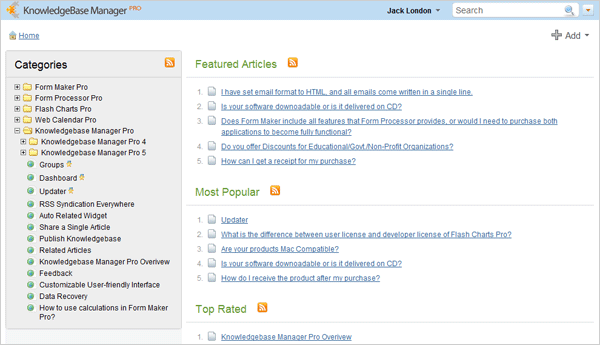 Main page with category tree