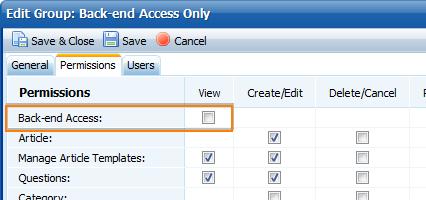 Back-end access permission