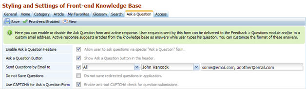 Ask Question settings