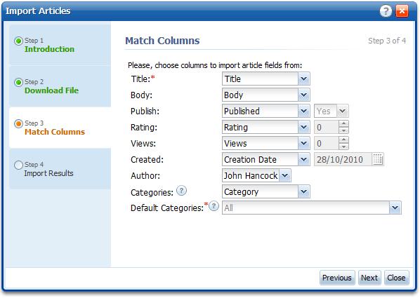 Categories Import